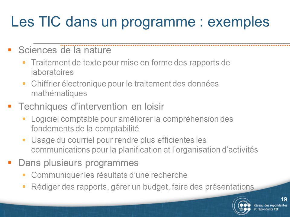 Les TIC dans un programme : exemples  Sciences de la nature  Traitement de texte pour mise en forme des rapports de laboratoires  Chiffrier électro