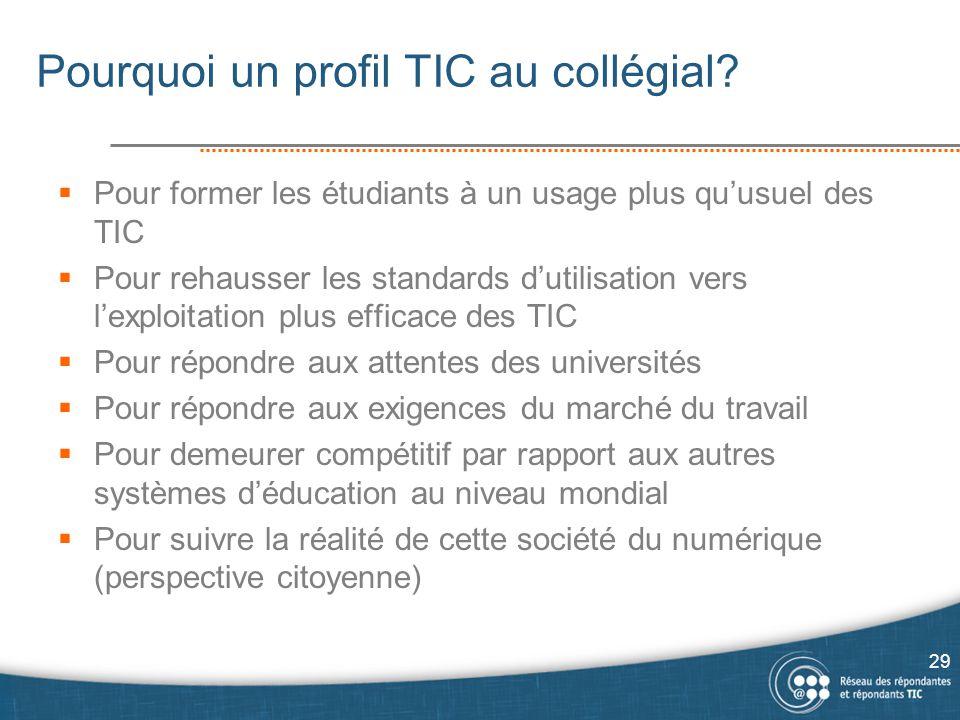Pourquoi un profil TIC au collégial?  Pour former les étudiants à un usage plus qu'usuel des TIC  Pour rehausser les standards d'utilisation vers l'