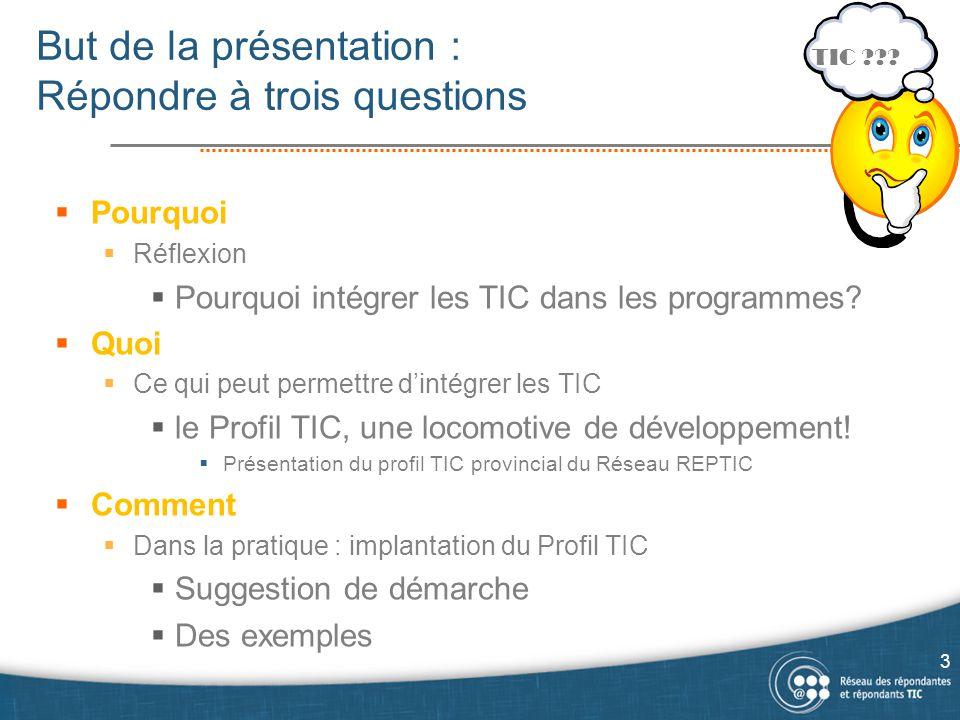 But de la présentation : Répondre à trois questions  Pourquoi  Réflexion  Pourquoi intégrer les TIC dans les programmes?  Quoi  Ce qui peut perme