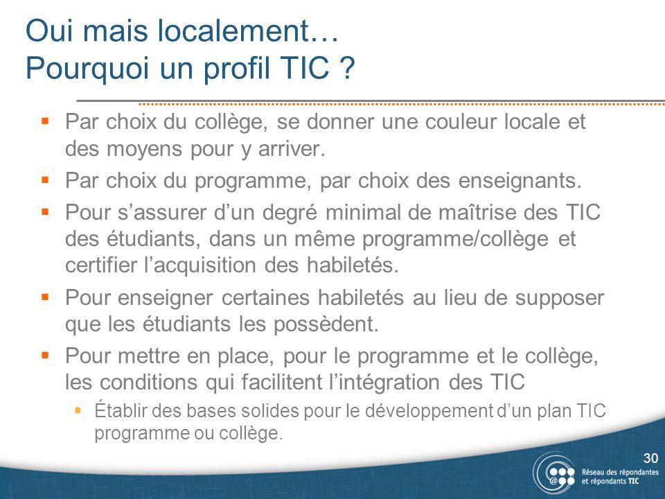 Oui mais localement… Pourquoi un profil TIC ?  Par choix du collège, se donner une couleur locale et des moyens pour y arriver.  Par choix du progra