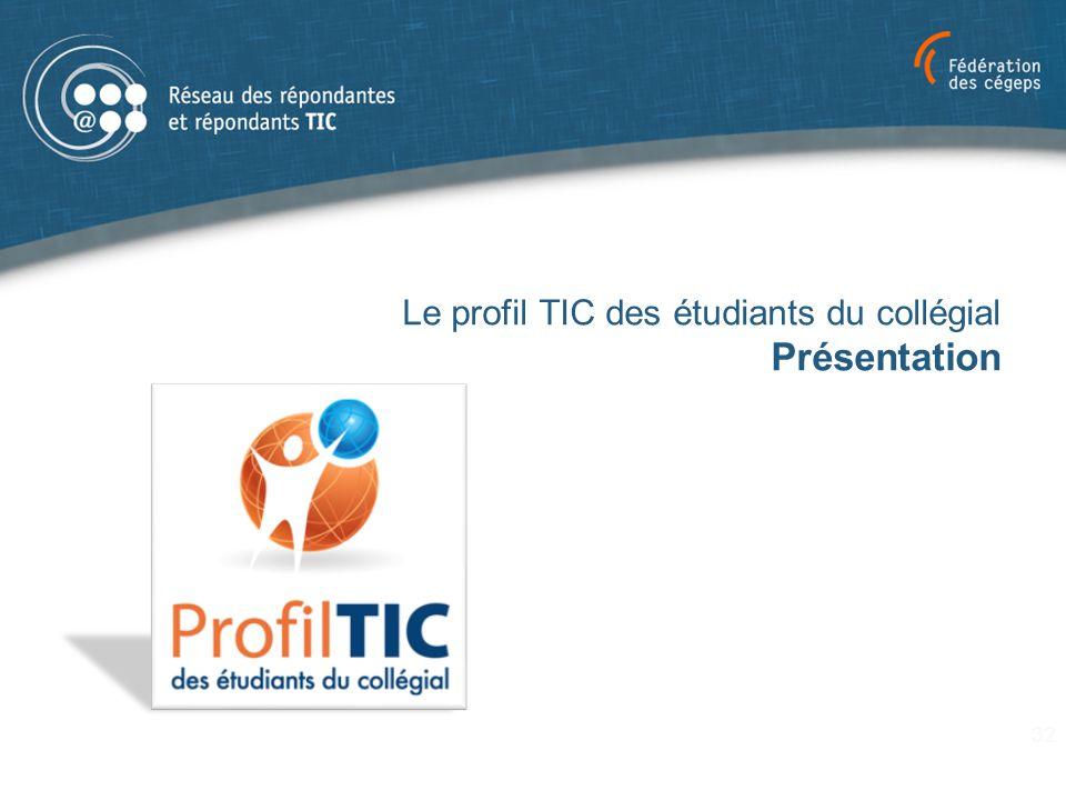 Le profil TIC des étudiants du collégial Présentation 32
