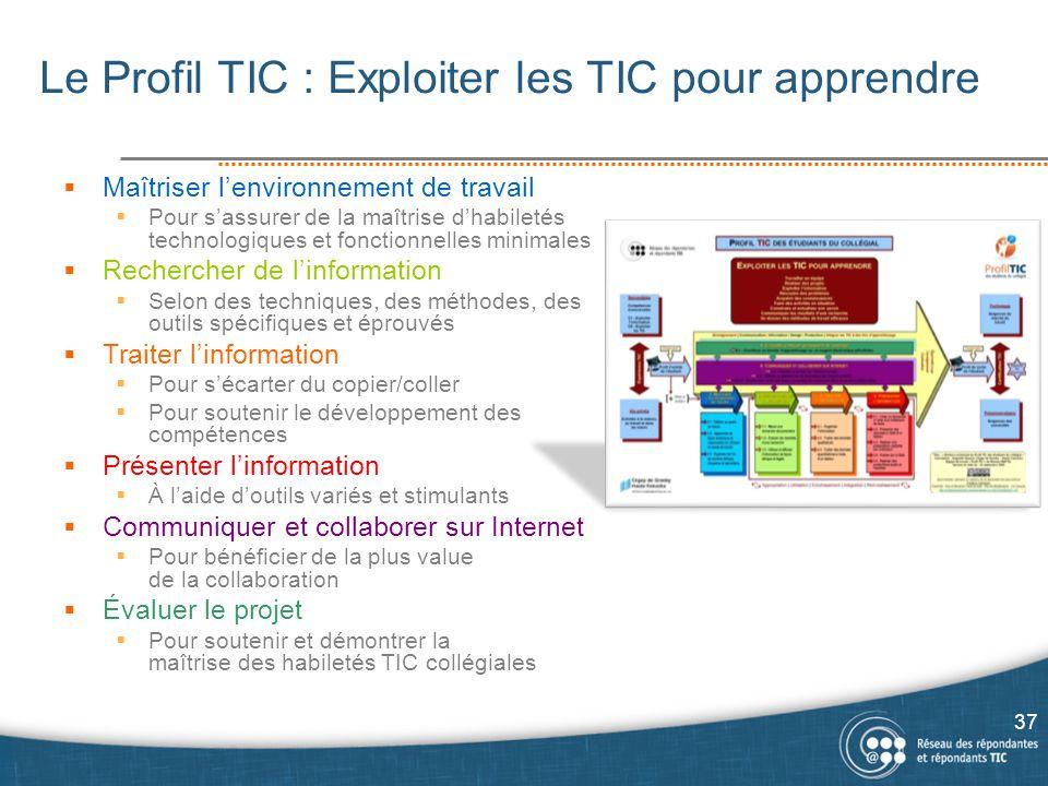 Le Profil TIC : Exploiter les TIC pour apprendre  Maîtriser l'environnement de travail  Pour s'assurer de la maîtrise d'habiletés technologiques et