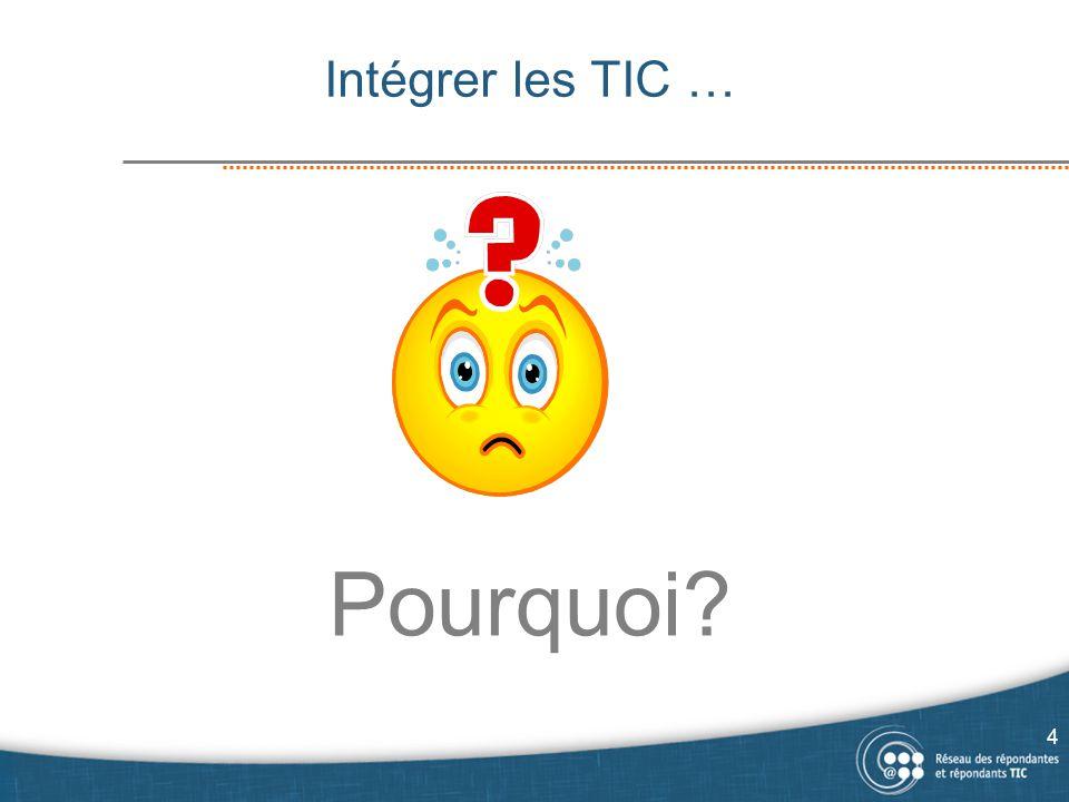 Pourquoi intégrer les TIC dans les programmes. Pour suivre le courant, être « in ».