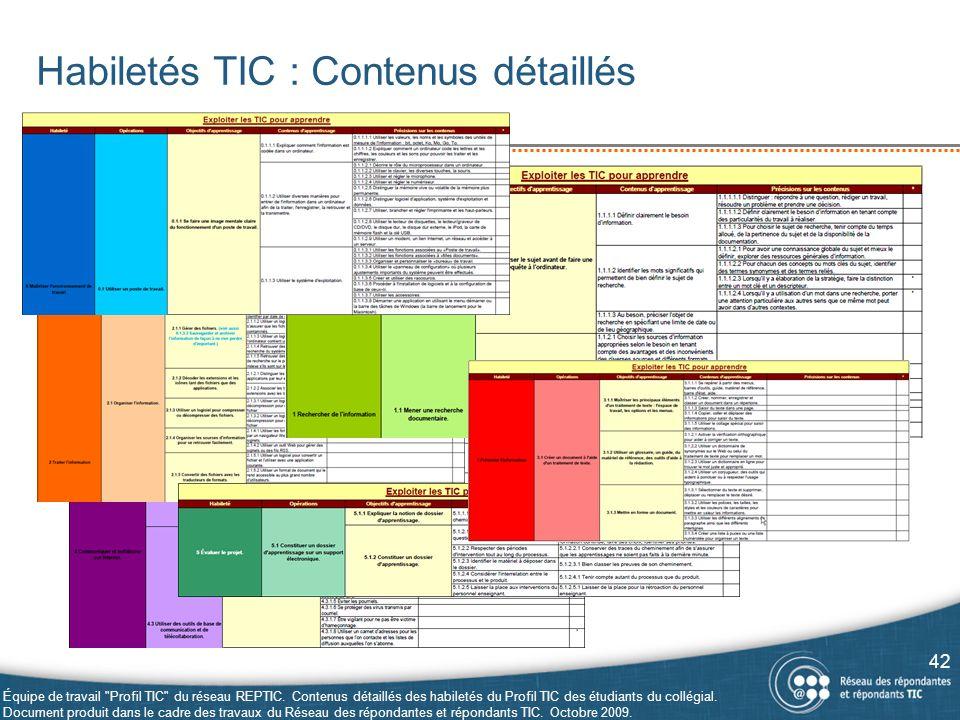Habiletés TIC : Contenus détaillés 42 Équipe de travail