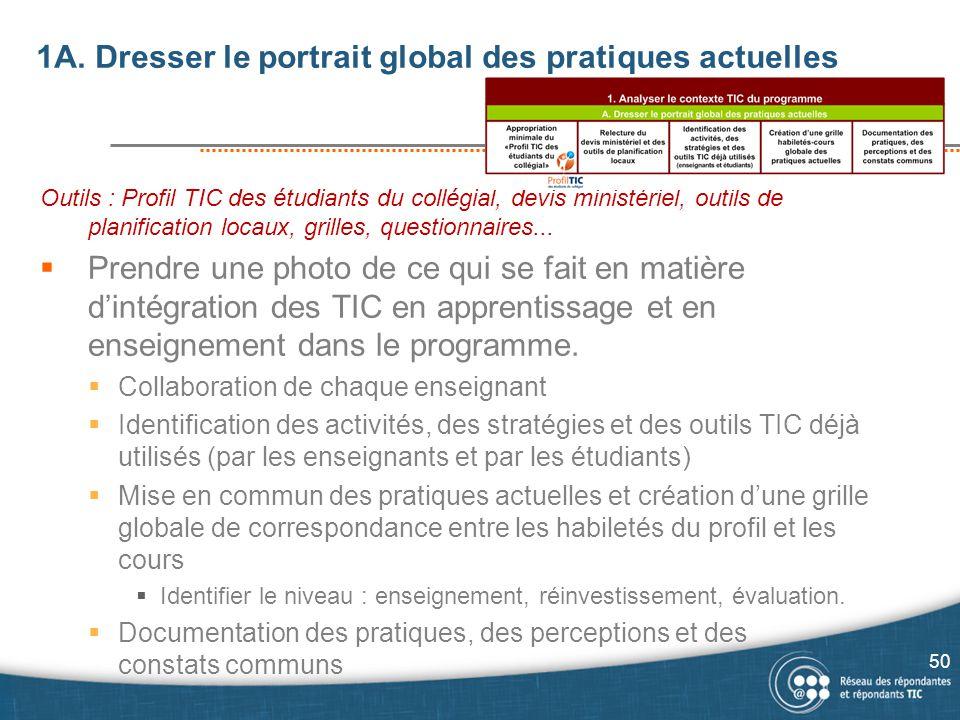 1A. Dresser le portrait global des pratiques actuelles Outils : Profil TIC des étudiants du collégial, devis ministériel, outils de planification loca