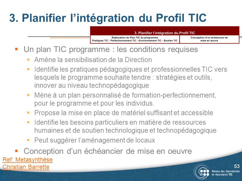 3. Planifier l'intégration du Profil TIC  Un plan TIC programme : les conditions requises  Amène la sensibilisation de la Direction  Identifie les