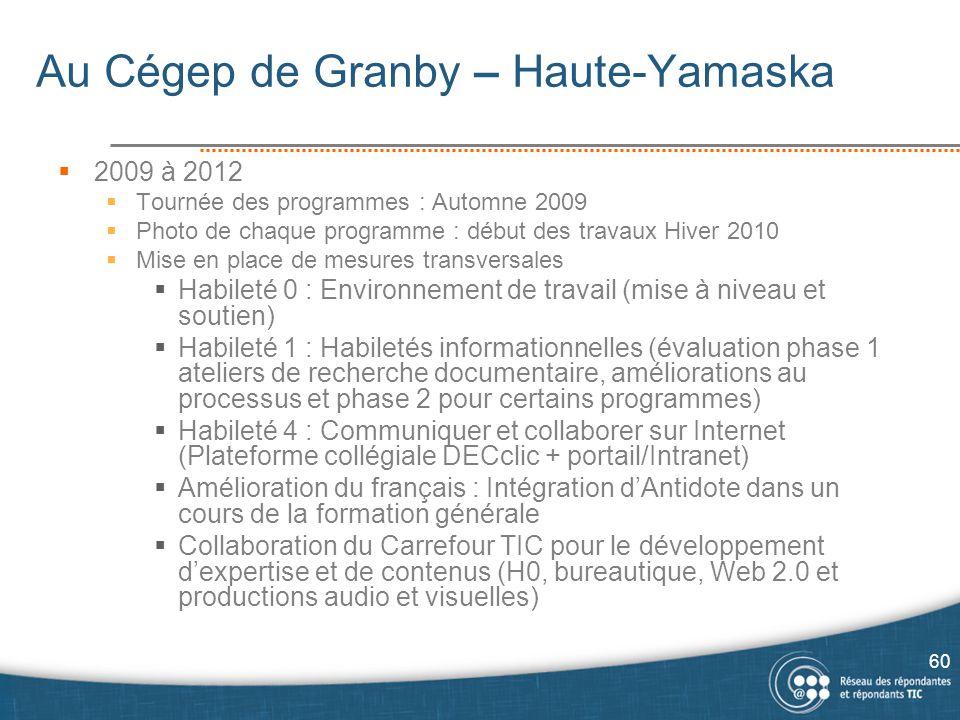 Au Cégep de Granby – Haute-Yamaska  2009 à 2012  Tournée des programmes : Automne 2009  Photo de chaque programme : début des travaux Hiver 2010 