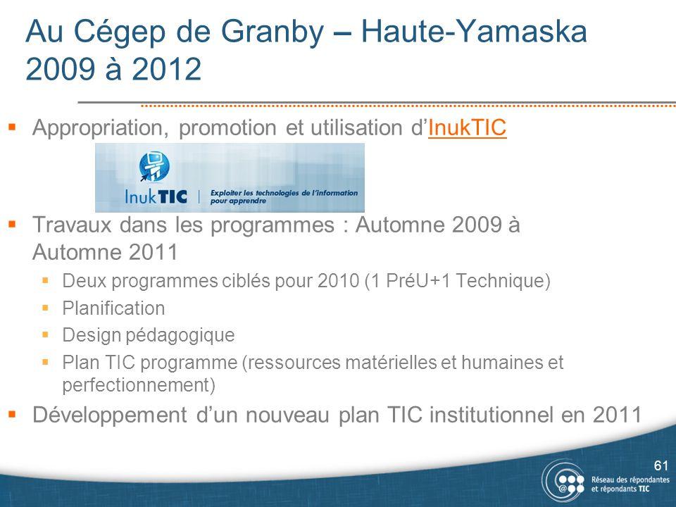 Au Cégep de Granby – Haute-Yamaska 2009 à 2012  Appropriation, promotion et utilisation d'InukTICInukTIC  Travaux dans les programmes : Automne 2009