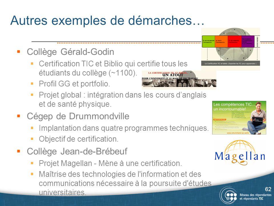 Autres exemples de démarches…  Collège Gérald-Godin  Certification TIC et Biblio qui certifie tous les étudiants du collège (~1100).  Profil GG et