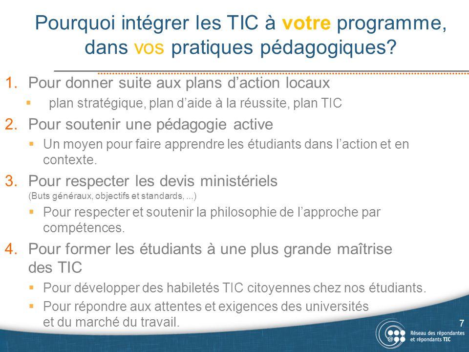 Pourquoi intégrer les TIC à votre programme, dans vos pratiques pédagogiques? 1.Pour donner suite aux plans d'action locaux  plan stratégique, plan d