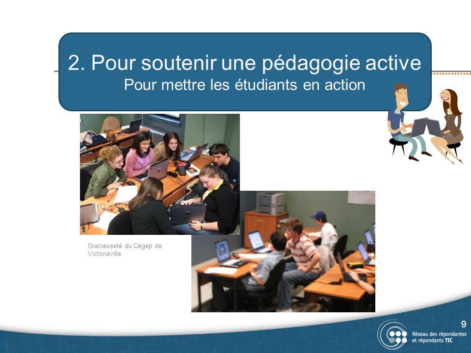 2. Pour soutenir une pédagogie active Pour mettre les étudiants en action Gracieuseté du Cégep de Victoriaville 9