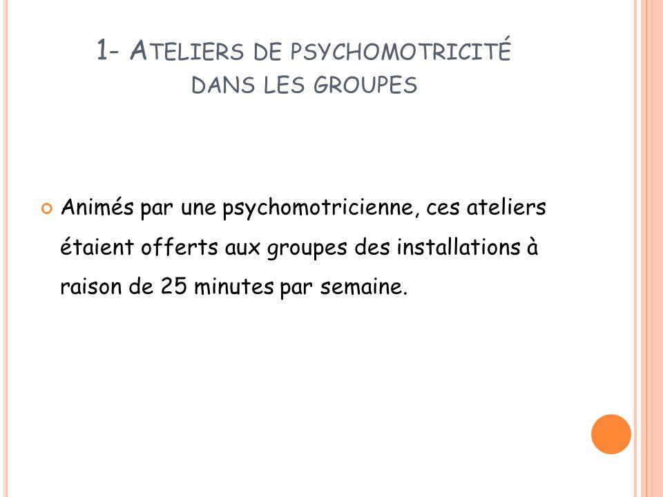 1- A TELIERS DE PSYCHOMOTRICITÉ DANS LES GROUPES Animés par une psychomotricienne, ces ateliers étaient offerts aux groupes des installations à raison