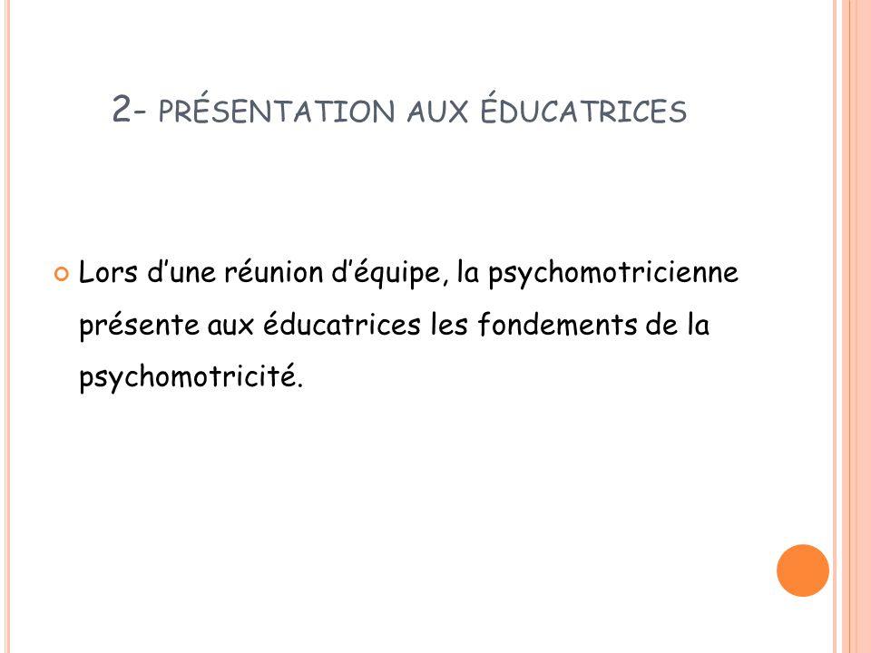2- PRÉSENTATION AUX ÉDUCATRICES Lors d'une réunion d'équipe, la psychomotricienne présente aux éducatrices les fondements de la psychomotricité.