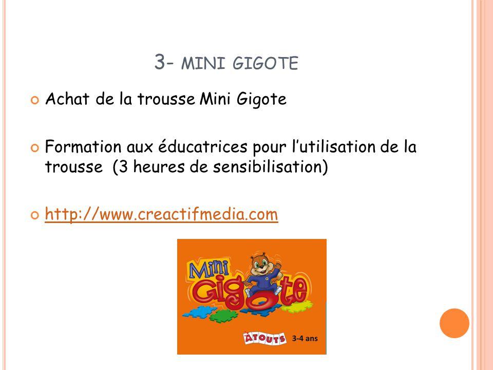 3- MINI GIGOTE Achat de la trousse Mini Gigote Formation aux éducatrices pour l'utilisation de la trousse (3 heures de sensibilisation) http://www.cre