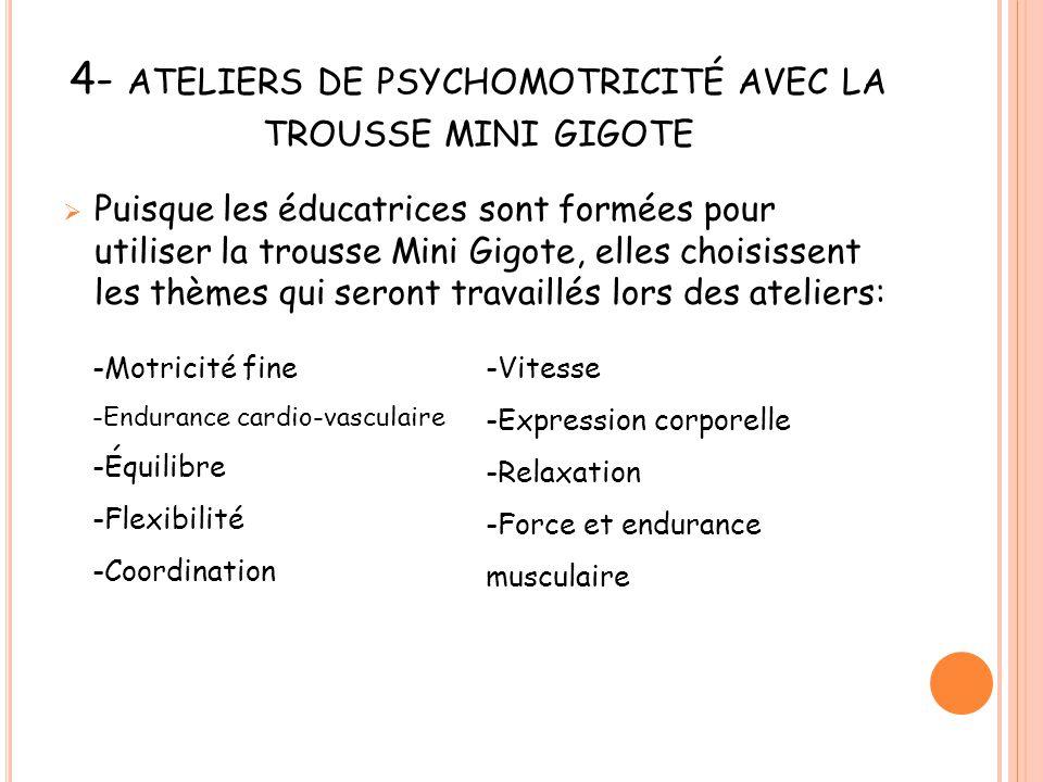 4- ATELIERS DE PSYCHOMOTRICITÉ AVEC LA TROUSSE MINI GIGOTE  Puisque les éducatrices sont formées pour utiliser la trousse Mini Gigote, elles choisiss