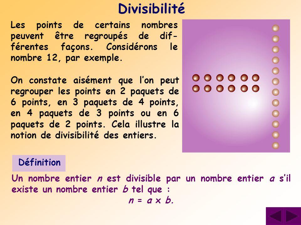 Les points de certains nombres peuvent être regroupés de dif- férentes façons. Considérons le nombre 12, par exemple. Divisibilité On constate aisémen