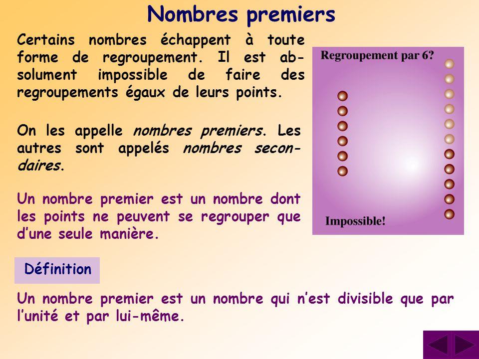 Certains nombres échappent à toute forme de regroupement. Il est ab- solument impossible de faire des regroupements égaux de leurs points. Nombres pre