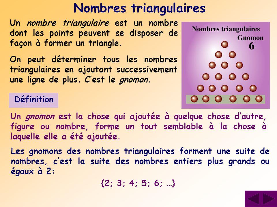 Un nombre triangulaire est un nombre dont les points peuvent se disposer de façon à former un triangle. Nombres triangulaires On peut déterminer tous