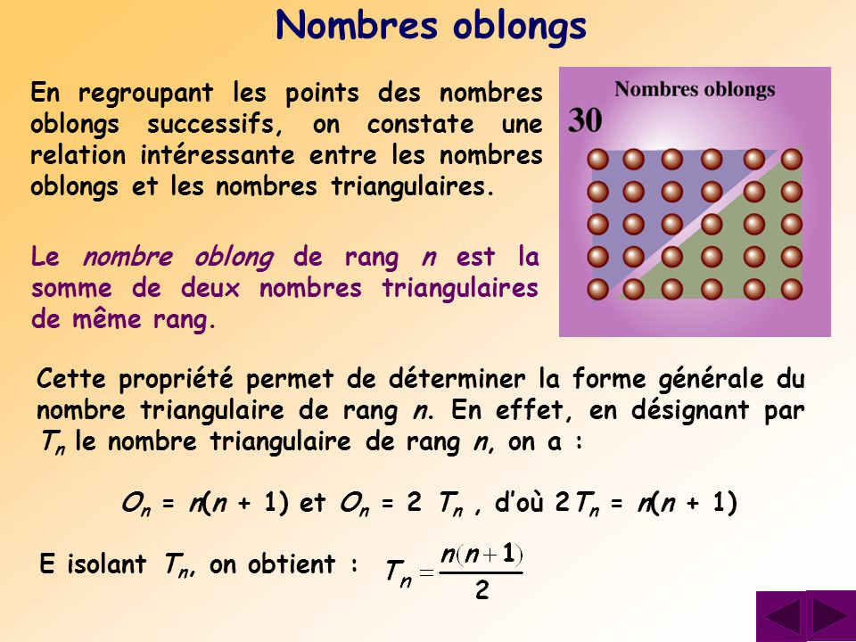 En regroupant les points des nombres oblongs successifs, on constate une relation intéressante entre les nombres oblongs et les nombres triangulaires.