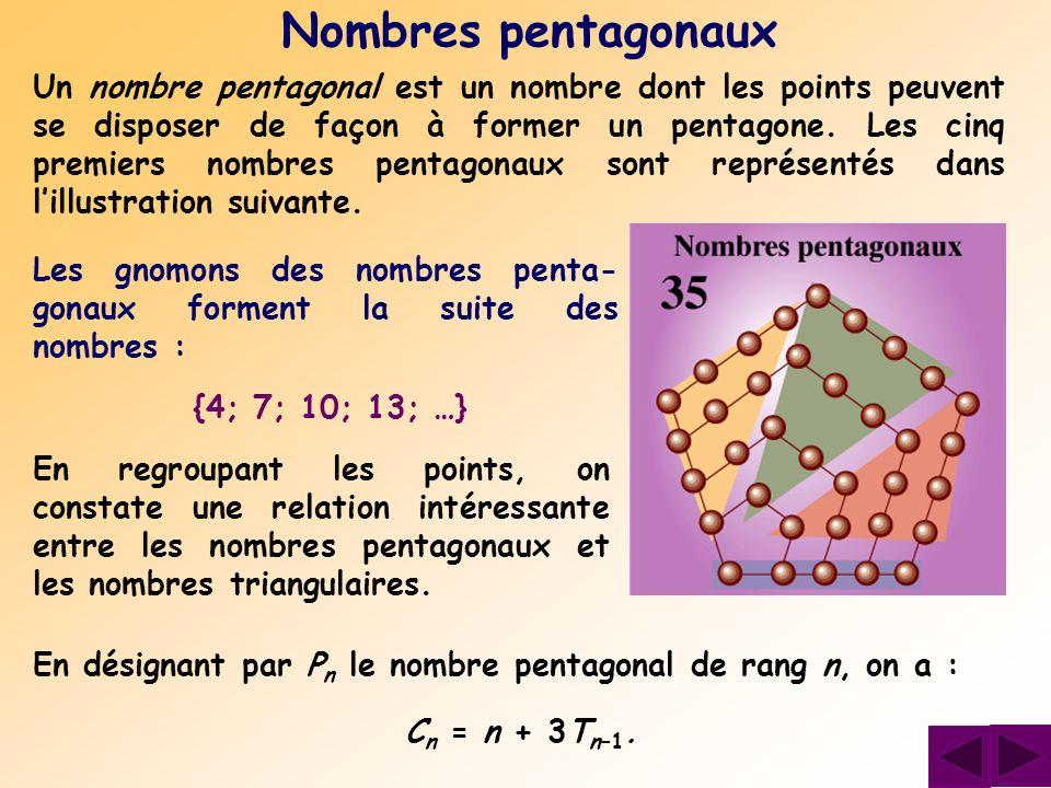 Un nombre pentagonal est un nombre dont les points peuvent se disposer de façon à former un pentagone. Les cinq premiers nombres pentagonaux sont repr