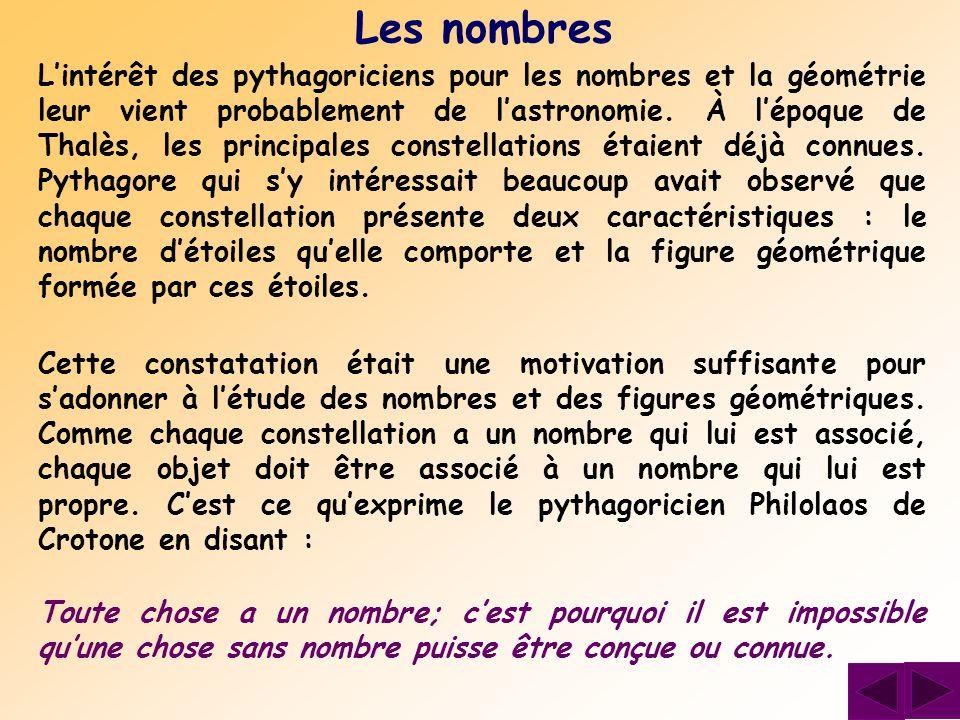L'intérêt des pythagoriciens pour les nombres et la géométrie leur vient probablement de l'astronomie. À l'époque de Thalès, les principales constella
