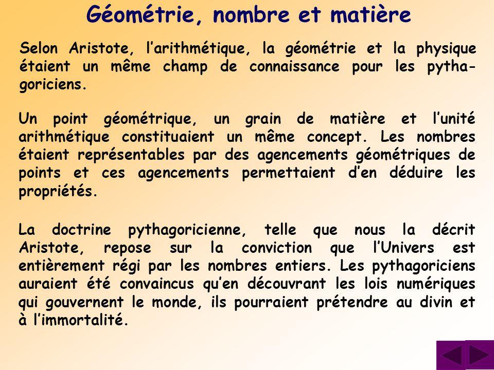 Selon Aristote, l'arithmétique, la géométrie et la physique étaient un même champ de connaissance pour les pytha- goriciens. Géométrie, nombre et mati