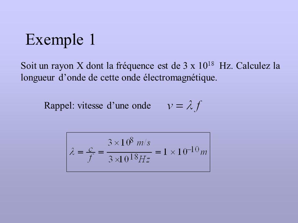 Exemple 1 Soit un rayon X dont la fréquence est de 3 x 10 18 Hz.