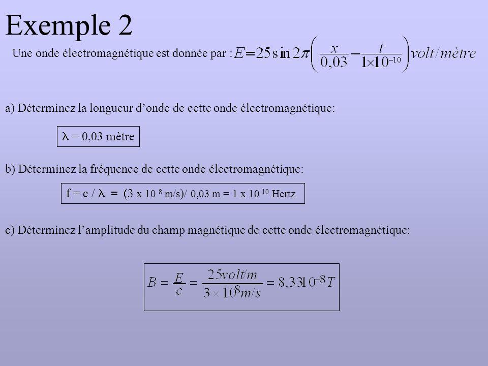 Exemple 2 Une onde électromagnétique est donnée par : a) Déterminez la longueur d'onde de cette onde électromagnétique:  = 0,03 mètre b) Déterminez la fréquence de cette onde électromagnétique: f  = c /  3 x 10 8 m/s ) / 0,03 m = 1 x 10 10 Hertz c) Déterminez l'amplitude du champ magnétique de cette onde électromagnétique: