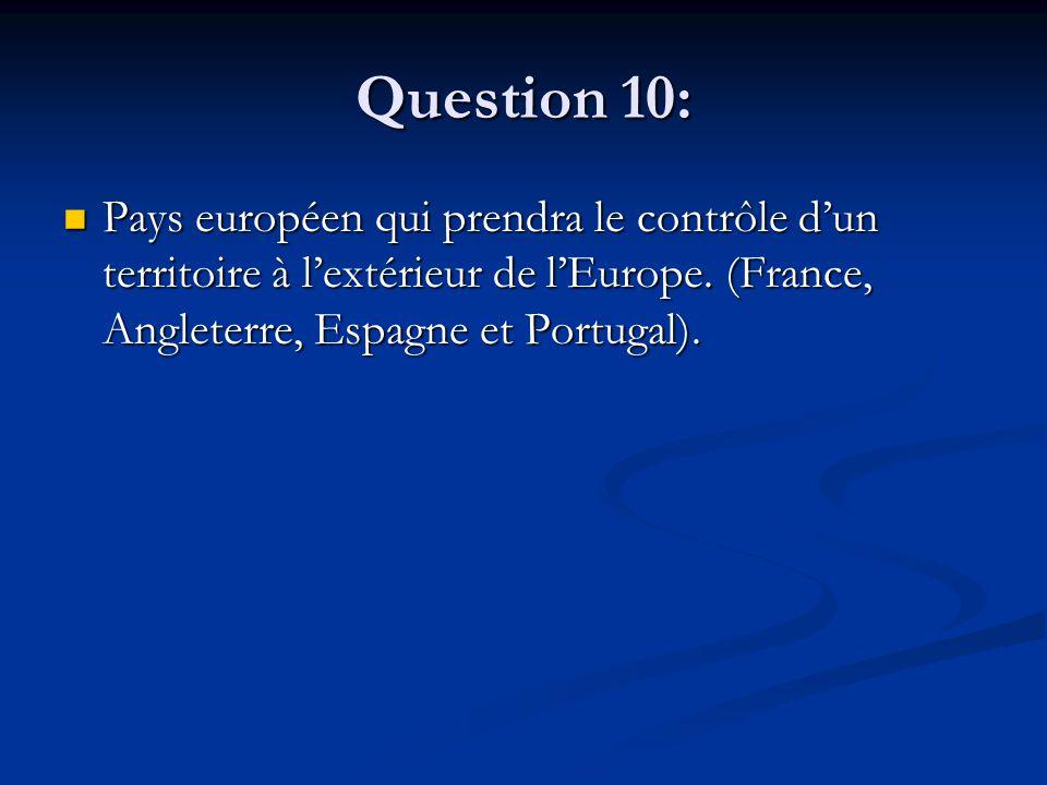 Question 10: Pays européen qui prendra le contrôle d'un territoire à l'extérieur de l'Europe. (France, Angleterre, Espagne et Portugal). Pays européen