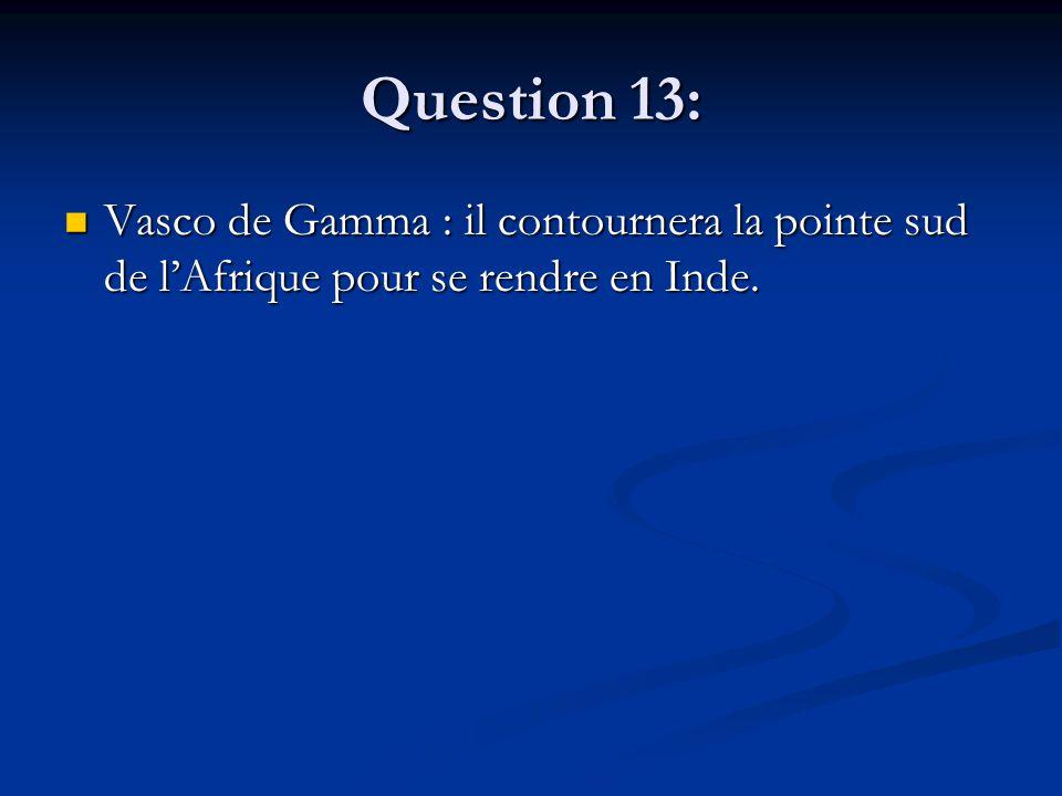 Question 13: Vasco de Gamma : il contournera la pointe sud de l'Afrique pour se rendre en Inde. Vasco de Gamma : il contournera la pointe sud de l'Afr