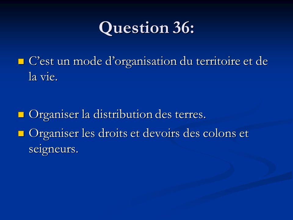 Question 36: C'est un mode d'organisation du territoire et de la vie. C'est un mode d'organisation du territoire et de la vie. Organiser la distributi
