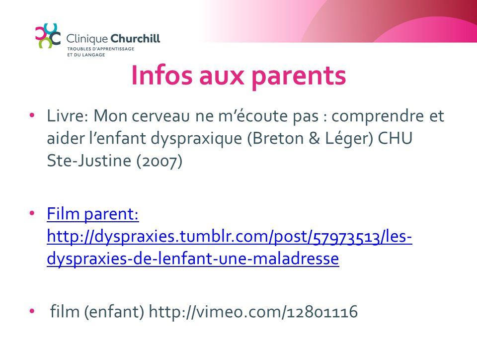 Infos aux parents Livre: Mon cerveau ne m'écoute pas : comprendre et aider l'enfant dyspraxique (Breton & Léger) CHU Ste-Justine (2007) Film parent: h