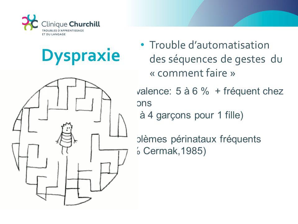 Dyspraxie Prévalence: 5 à 6 % + fréquent chez garçons (2 à 4 garçons pour 1 fille) Problèmes périnataux fréquents (50% Cermak,1985) Trouble d'automati