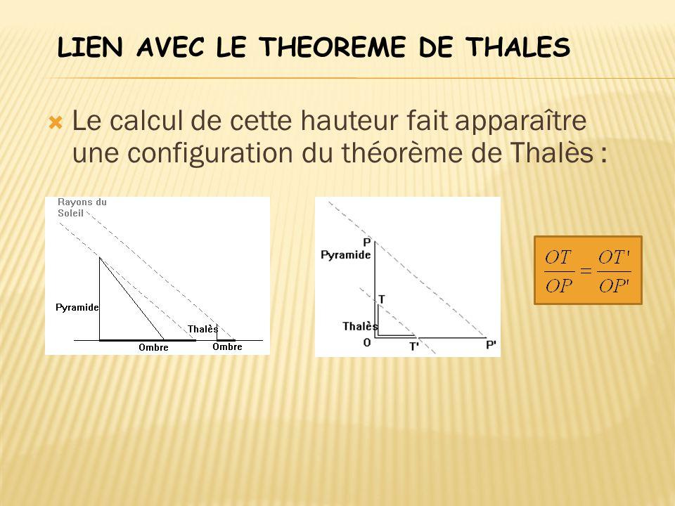  Le calcul de cette hauteur fait apparaître une configuration du théorème de Thalès : LIEN AVEC LE THEOREME DE THALES