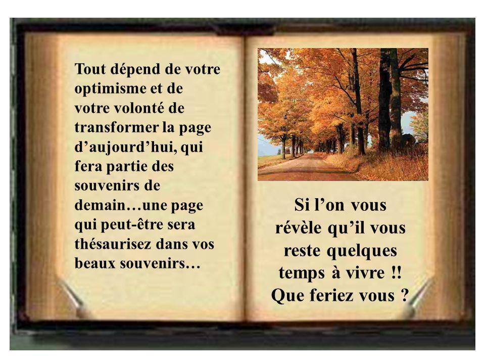Tout dépend de votre optimisme et de votre volonté de transformer la page d'aujourd'hui, qui fera partie des souvenirs de demain…une page qui peut-êtr
