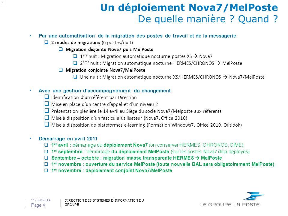 DIRECTION DES SYSTEMES D'INFORMATION DU GROUPE 11/09/2014 Page 4 Un déploiement Nova7/MelPoste De quelle manière .