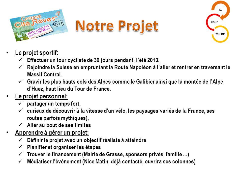 Le projet sportif: Effectuer un tour cycliste de 30 jours pendant l'été 2013.