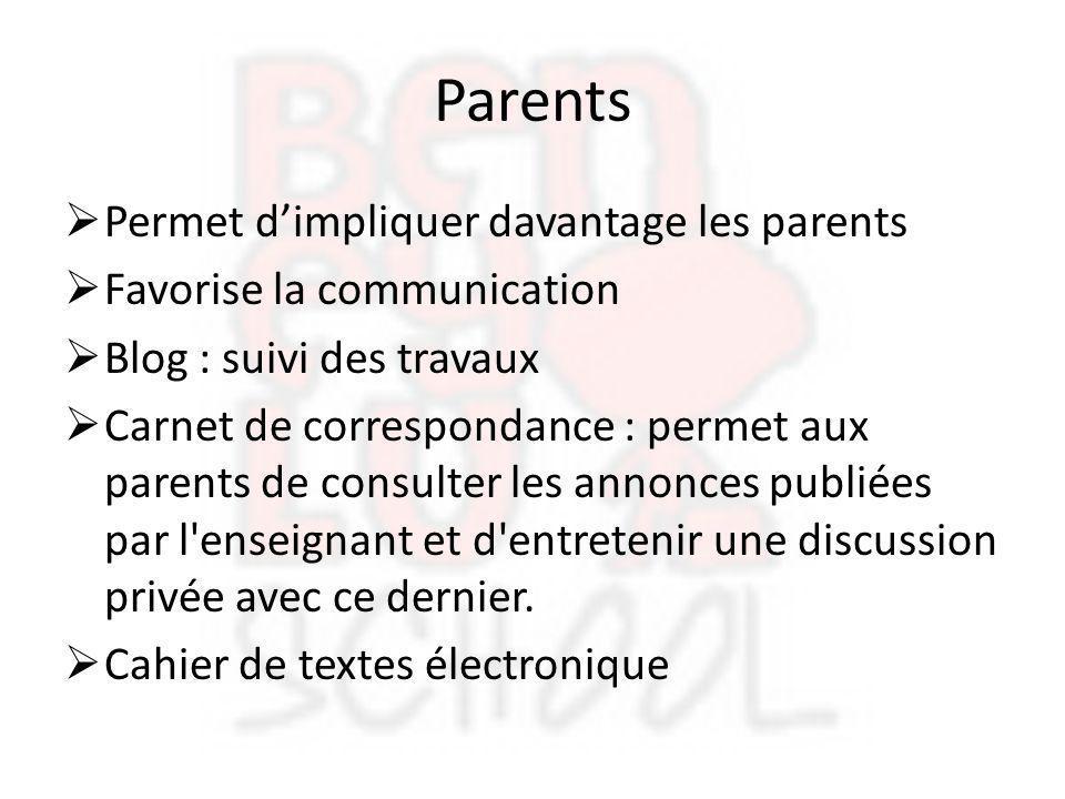 Parents  Permet d'impliquer davantage les parents  Favorise la communication  Blog : suivi des travaux  Carnet de correspondance : permet aux pare