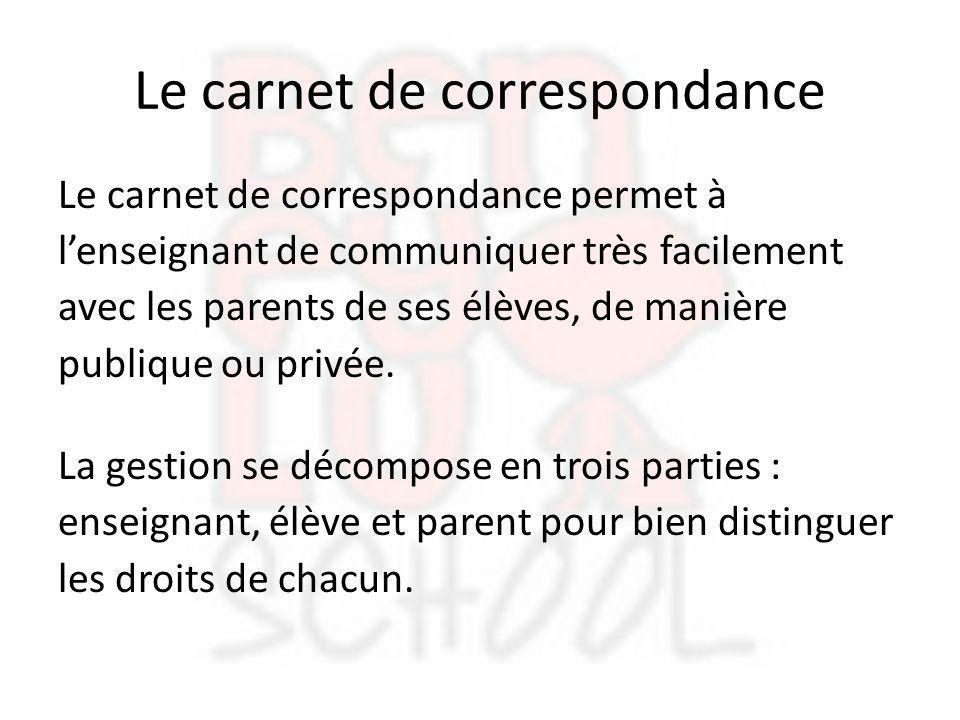 Le carnet de correspondance Le carnet de correspondance permet à l'enseignant de communiquer très facilement avec les parents de ses élèves, de manièr