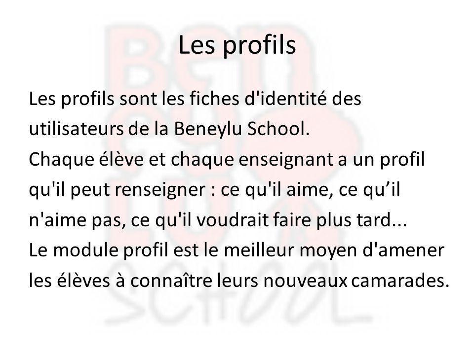 Les profils Les profils sont les fiches d'identité des utilisateurs de la Beneylu School. Chaque élève et chaque enseignant a un profil qu'il peut ren