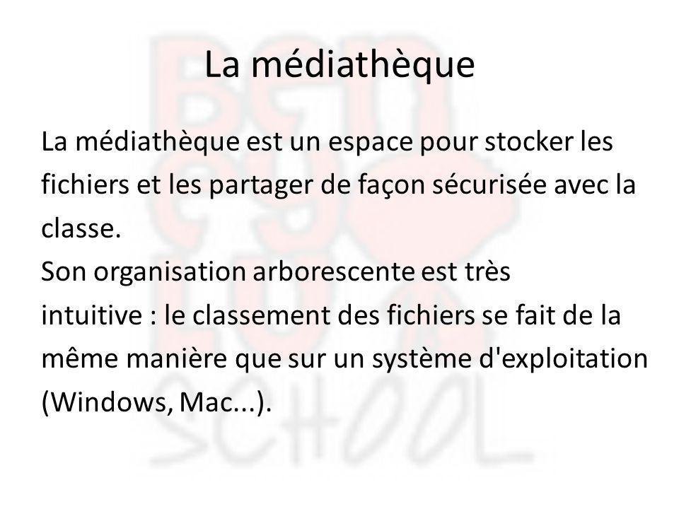 La médiathèque La médiathèque est un espace pour stocker les fichiers et les partager de façon sécurisée avec la classe. Son organisation arborescente
