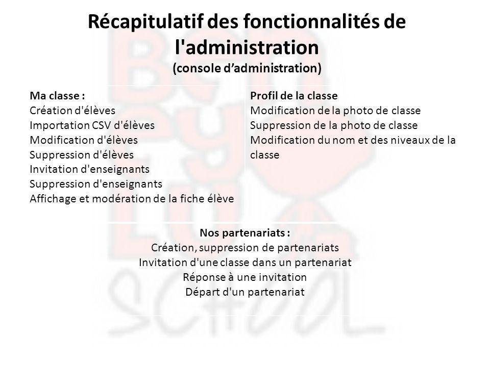 Récapitulatif des fonctionnalités de l'administration (console d'administration) Ma classe : Création d'élèves Importation CSV d'élèves Modification d