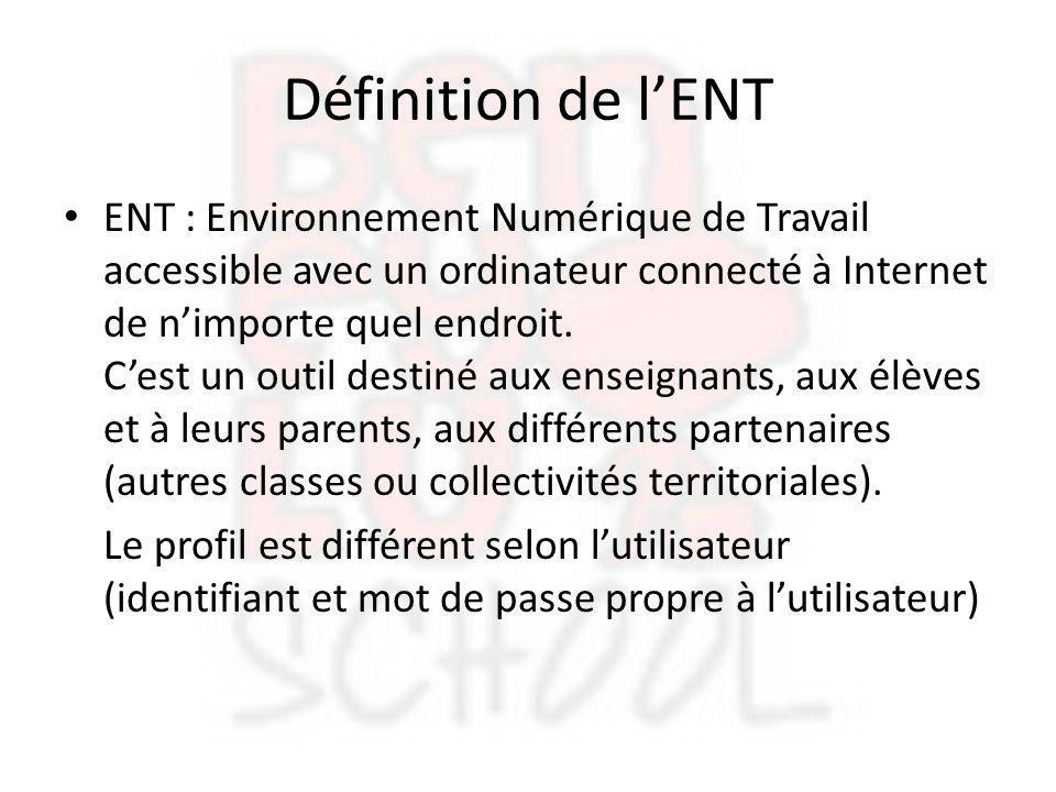 Définition de l'ENT ENT : Environnement Numérique de Travail accessible avec un ordinateur connecté à Internet de n'importe quel endroit. C'est un out