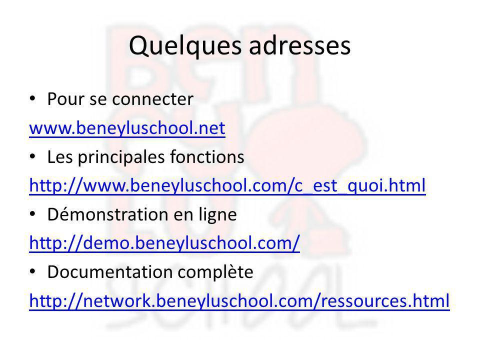 Quelques adresses Pour se connecter www.beneyluschool.net Les principales fonctions http://www.beneyluschool.com/c_est_quoi.html Démonstration en lign