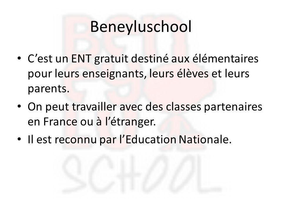 Beneyluschool C'est un ENT gratuit destiné aux élémentaires pour leurs enseignants, leurs élèves et leurs parents. On peut travailler avec des classes