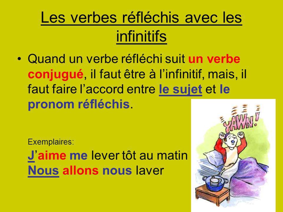 Les verbes réfléchis avec les infinitifs Quand un verbe réfléchi suit un verbe conjugué, il faut être à l'infinitif, mais, il faut faire l'accord entre le sujet et le pronom réfléchis.