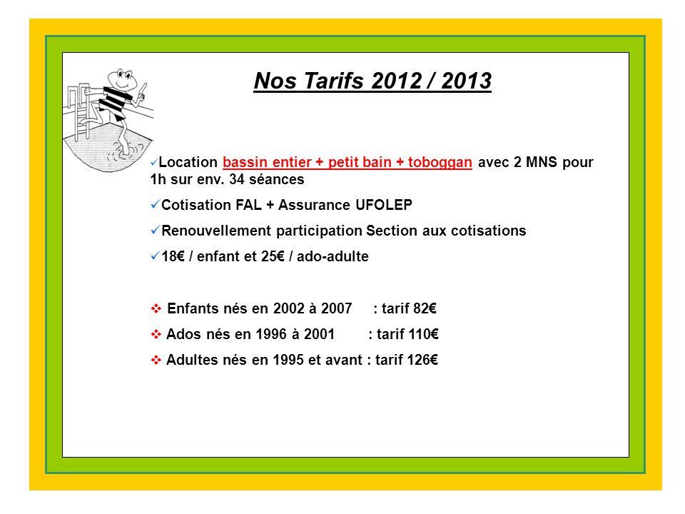 Nos Tarifs 2012 / 2013 Location bassin entier + petit bain + toboggan avec 2 MNS pour 1h sur env.