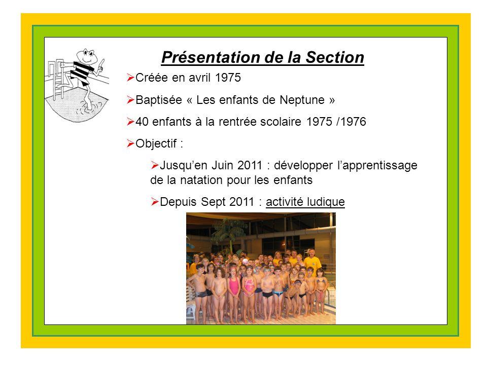 Présentation de la Section  Créée en avril 1975  Baptisée « Les enfants de Neptune »  40 enfants à la rentrée scolaire 1975 /1976  Objectif :  Jusqu'en Juin 2011 : développer l'apprentissage de la natation pour les enfants  Depuis Sept 2011 : activité ludique