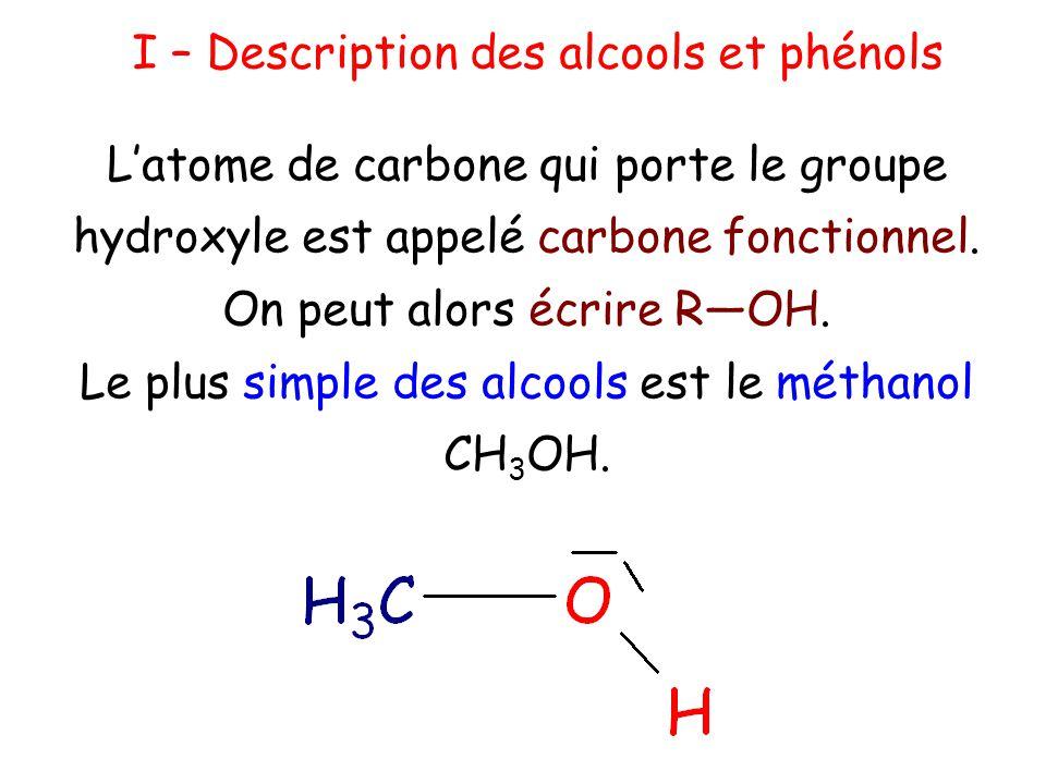Les alcanes ayant pour formule générale C n H 2n+2, la formule générale d'un alcool peut s'écrire C n H 2n+1 (— OH) où C n H 2n+1 est un groupe alkyle représenté le plus souvent par la lettre R.