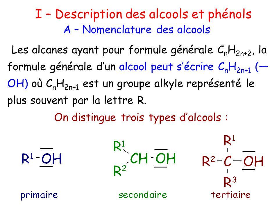 Les alcools comportent le suffixe -ol, le reste de la nomenclature précise la nature de la chaîne la plus longue dont le carbone lié au groupe hydroxyle.